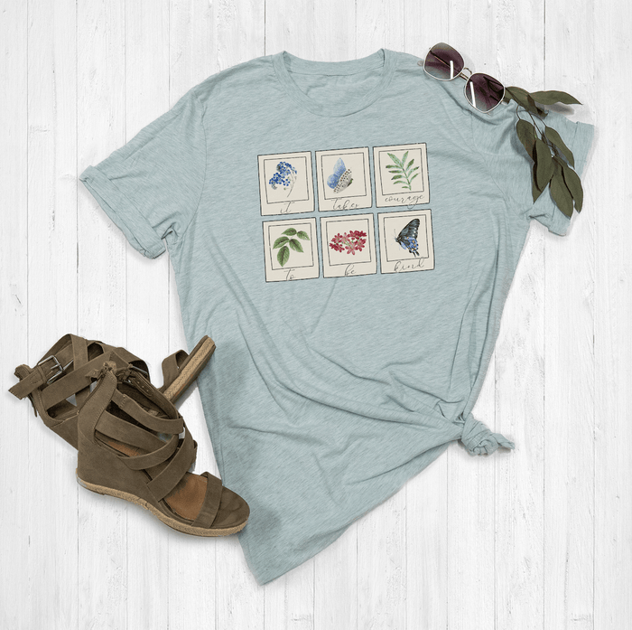 It Takes Courage To Be Kind Floral Polaroid Graphic Tee Shirt or Hoodie by Lily and Grace Adults