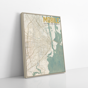Mobile Alabama City Street Map Print By Printed Marketplace | Hanging Canvas, Matte Print, Wrapped Canvas