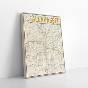 Tallahassee Florida City Street Map Print By Printed Marketplace | Canvas, Hanging Canvas, Matte Prints