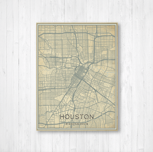 Houston Texas Street Map Print
