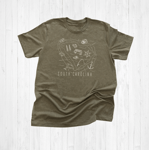 Illustrated South Carolina Shirt By Printed Marketplace