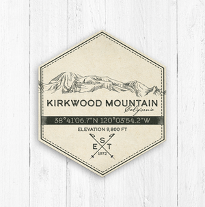 Kirkwood California Ski Resort Hexagon Badge