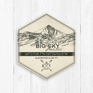 Big Sky Ski Resort Hexagon Badge
