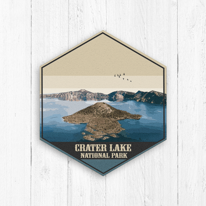 Crater Lake National Park Hexagon Illustration