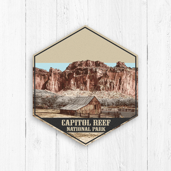 Capitol Reef National Park Hexagon Illustration Print