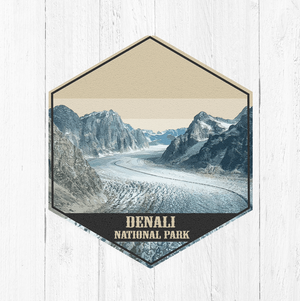 Denali National Park Hexagon Illustration