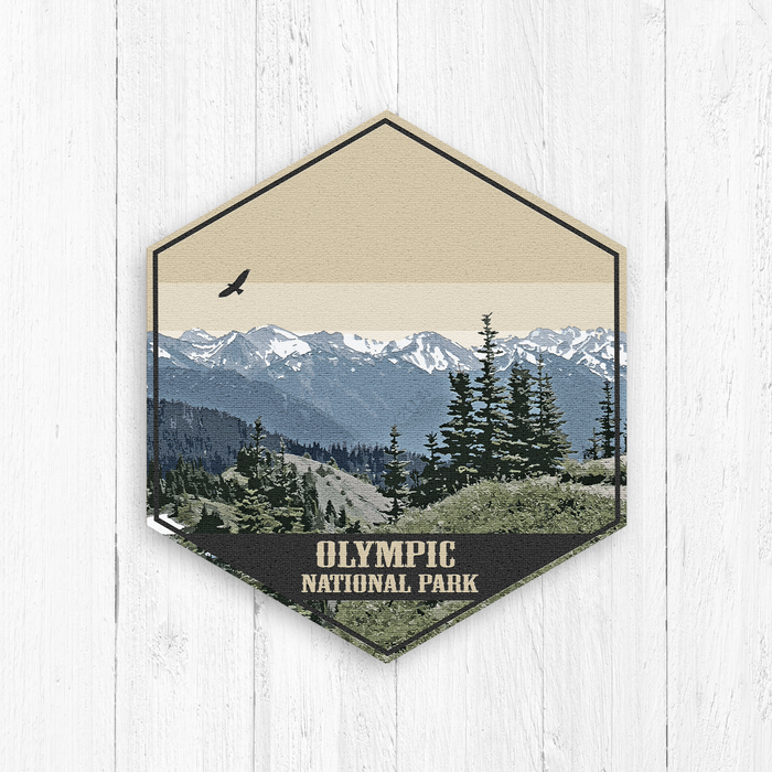 Olympic National Park Hexagon Illustration Art