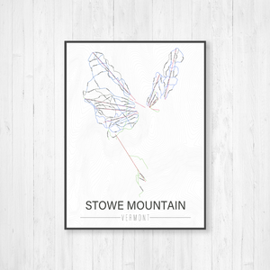 Stowe Mountain Vermont Ski Trail Map by Printed Marketplace