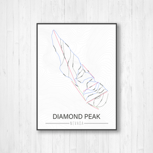 Diamond Peak Nevada Ski Run Trail Map | Hanging Canvas of Diamond Peak Ski Trail | Printed Marketplace
