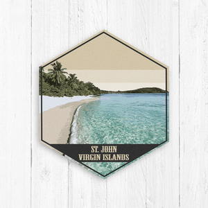 St John Virgin Islands Hexagon Illustration Print