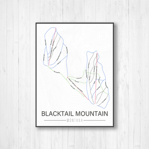 Blacktail Mountain Montana Ski Run Trail Map by Printed Marketplace