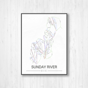 Sunday River Maine Ski Trail Map by Printed Marketplace