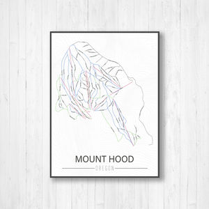 Mount Hood Oregon Ski Trail Map | Hanging Canvas of Mount Hood Ski Trail | Printed Marketplace
