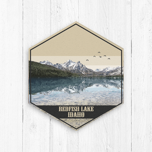 Redfish Lake Idaho Hexagon Illustration