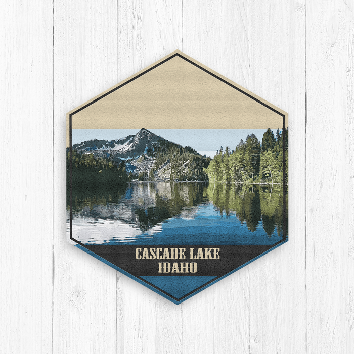 Cascade Lake Idaho Hexagon Illustration