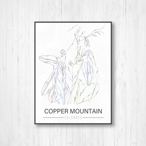 Copper Mountain Colorado Ski Trail Map | Hanging Canvas of Copper Mountain Ski Trail | Printed Marketplace