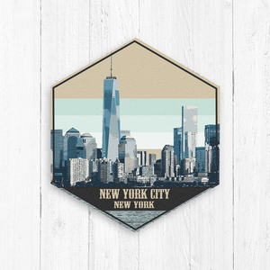 New York City Illustration Hexagon Canvas