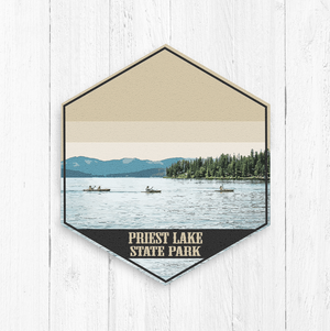 Priest Lake Idaho Hexagon Illustration