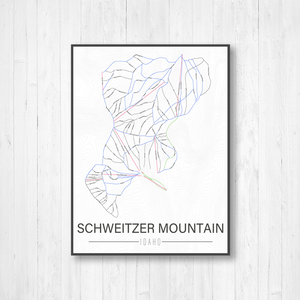 Schweitzer Mountain Idaho Ski Trail Map by Printed Marketplace