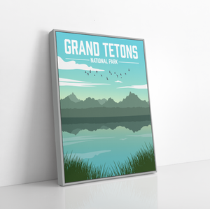 Grand Tetons National Park Illustration Print