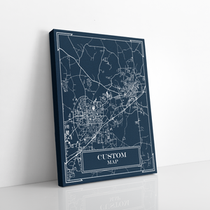 Custom City Blueprint Map Print