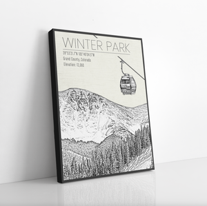 Winter Park Colorado Ski Resort Illustration Print