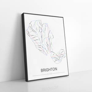 Brighton Utah Ski Trail Map | Hanging Canvas of Brighton Ski Resort | Printed Marketplace