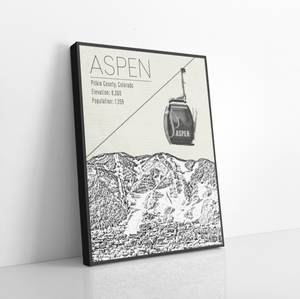 Aspen Colorado Ski Resort | Hanging Canvas of Aspen | Printed Marketplace
