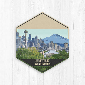 Seattle Washington Hexagon Illustration Canvas