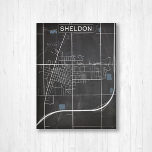 Sheldon Iowa Map by Printed Marketplace