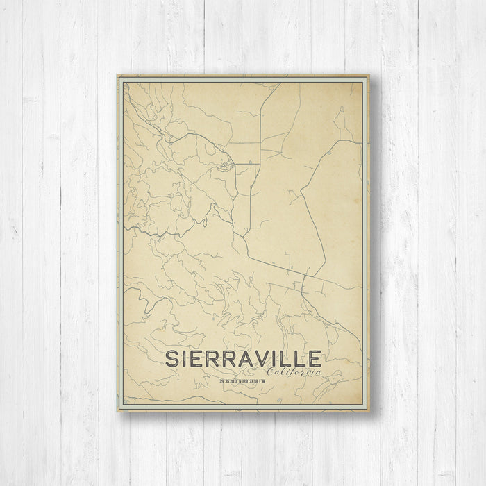 Sierraville California Street Map Print