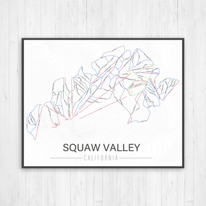 Squaw Valley California Ski Trail Map by Printed Marketplace
