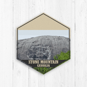 Stone Mountain Hexagon Illustration Print