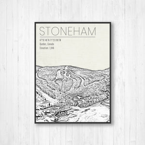 Stoneham Ski Resort Canada Illustration