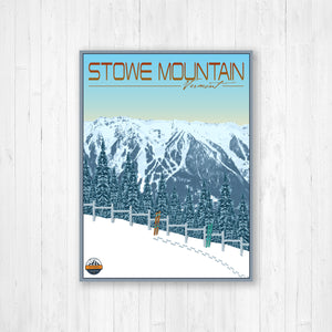 Stowe Mountain Vermont Modern Illustration Print by Printed Marketplace
