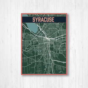 Syracuse New York Urban City Street Map Print