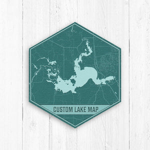 Custom Teal Lake Map Hexagon Print