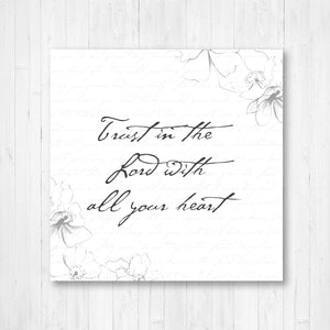 Trust in the Lord With all Your Heart Vintage Word Art