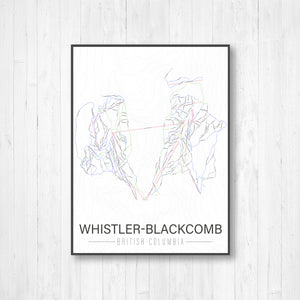 Whistler-Blackcomb British Columbia Ski Trail Map Print by Printed Marketplace