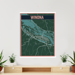 Winona Street Map | Hanging Canvas | Printed Marketplace