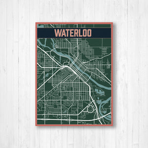 Waterloo New York Urban City Street Map Print