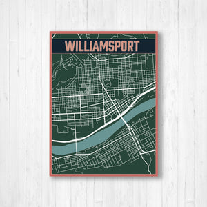 Williamsport Pennsylvania Urban City Street Map Print