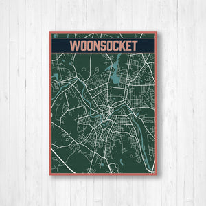 Woonsocket Street Map Print | Hanging Canvas | Printed Marketplace