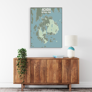 Hanging Canvas Map of Acadia National Park by Printed Marketplace