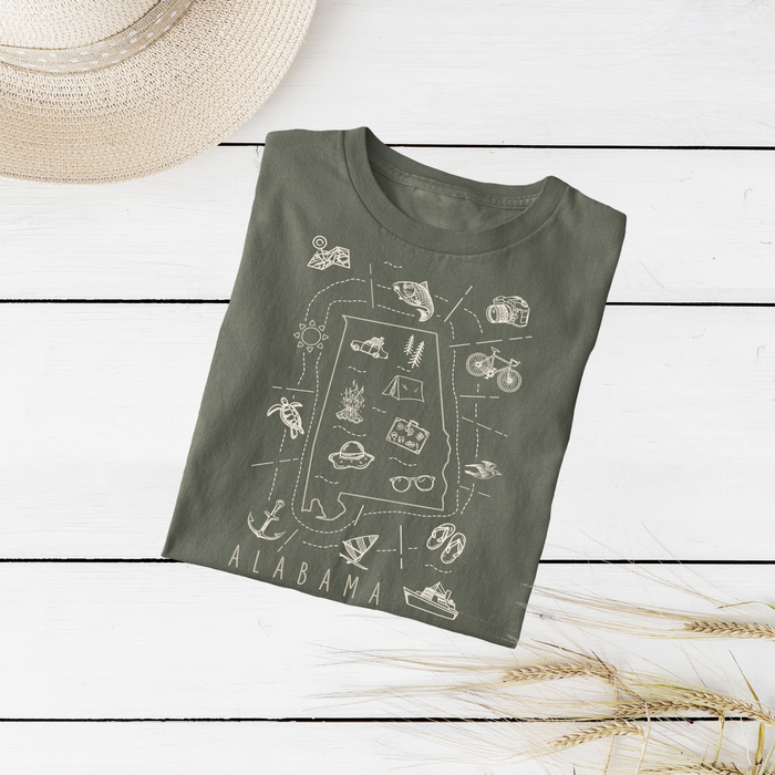 Illustrated Alabama Shirt By Printed Marketplace