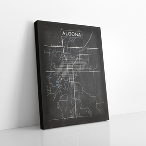 Algona Iowa Charcoal Street Map