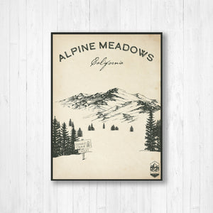 Alpine Meadows Ski Resort Sketch Print