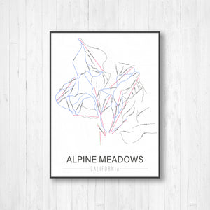 Alpine Meadows California Ski Trail Map by Printed Marketplace