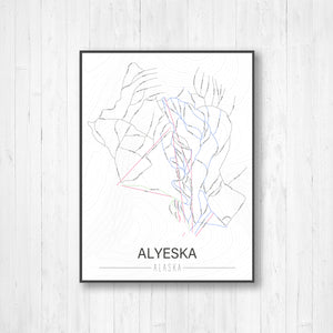 Alyeska Alaska Ski Trail Map | Hanging Canvas of Alyeska Ski Trail  | Printed Marketplace