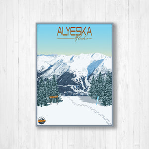 Alyeska Alaska Modern Illustration Print by Printed Marketplace